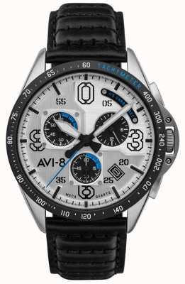 AVI-8 P-51 mustang | chronographe | cadran argenté | bracelet en cuir noir AV-4077-01