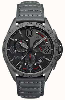 AVI-8 P-51 mustang | chronographe | cadran gris | bracelet en cuir gris AV-4077-03