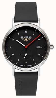 Bauhaus Bracelet homme en cuir italien noir | cadran noir 2130-2