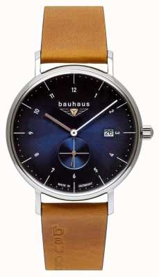 Bauhaus Bracelet homme en cuir italien marron | cadran bleu 2130-3