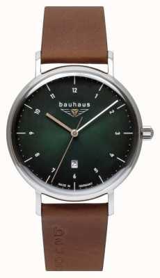 Bauhaus Bracelet homme en cuir italien marron | cadran vert 2140-4