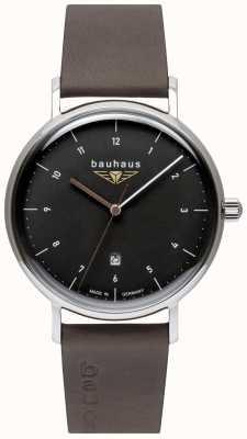 Bauhaus Bracelet en cuir italien gris pour homme | cadran noir 2142-2