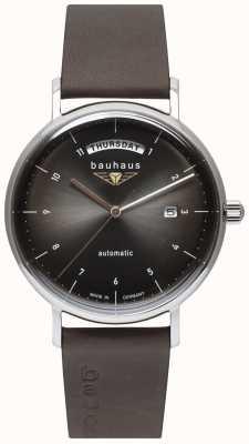 Bauhaus Bracelet homme en cuir italien noir | cadran noir | automatique | jour/date 2162-2