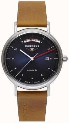 Bauhaus Bracelet homme en cuir italien marron | cadran bleu | automatique | jour/date 2162-3