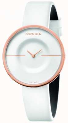 Calvin Klein | femmes | manie | bracelet en cuir blanc | boîtier en or rose | KAG236L2