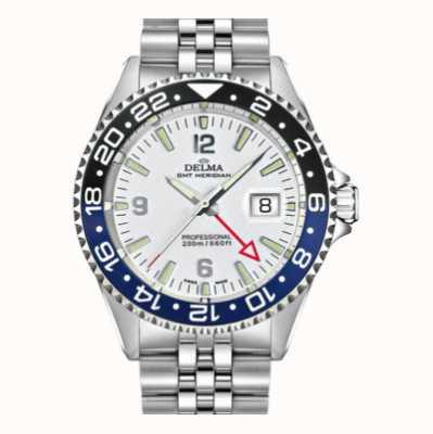 Delma Santiago gmt | bracelet en acier | cadran blanc 41701.648.6.014