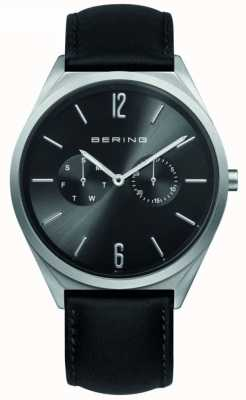 Bering Collection classique | bracelet en cuir noir | cadran noir 17140-402