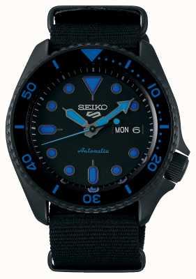 Seiko 5 sports | hommes | bracelet en nylon noir | cadran noir / bleu SRPD81K1
