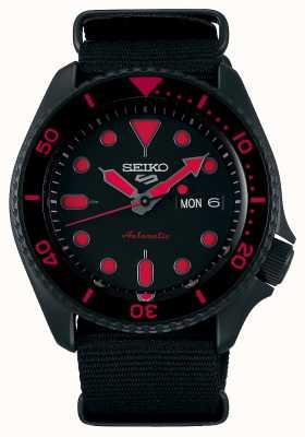 Seiko 5 sports | hommes | bracelet en nylon noir | cadran noir / rouge SRPD83K1