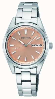Seiko Bracelet en acier inoxydable quartz pour femme Cadran en or rose SUR351P1