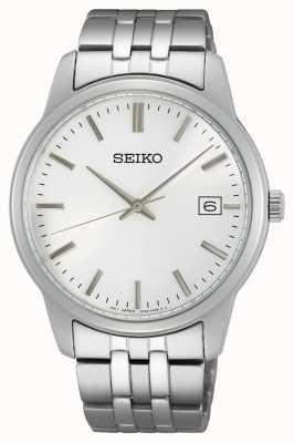 Seiko Quartz pour hommes | bracelet en acier inoxydable | cadran argenté SUR397P1