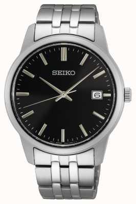 Seiko Quartz pour hommes | bracelet en acier inoxydable | cadran noir SUR401P1