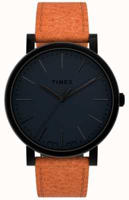 Timex Originaux 42 mm | cadran noir | bracelet en cuir beige TW2U05800