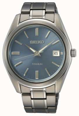 Seiko Cadran bleu quartz titane pour homme SUR371P1