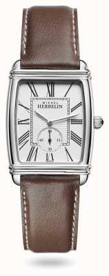 Michel Herbelin Femmes | art déco | cadran argenté | bracelet en cuir marron 10638/08MA