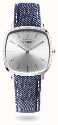 Michel Herbelin Ville | cadran argenté | bracelet en denim bleu 16905/11JN