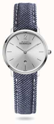 Michel Herbelin Ville | bracelet en denim bleu | cadran argenté 16915/11JN