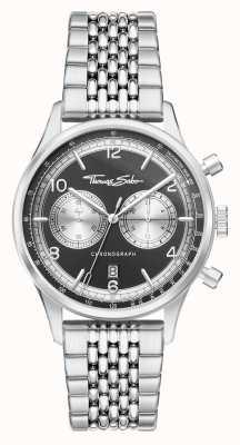 Thomas Sabo Rebelle dans l'âme | bracelet en acier inoxydable pour homme | cadran noir WA0375-201-203-40