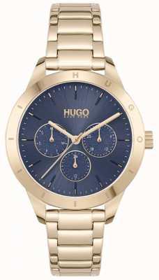HUGO #friend | bracelet en acier plaqué or | cadran bleu 1540092