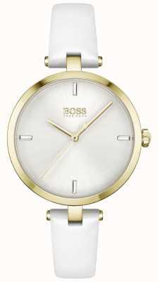 BOSS Majesté | bracelet en cuir blanc pour femme | cadran blanc 1502588