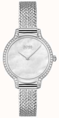 BOSS Gala | bracelet en maille d'acier inoxydable pour femme | cadran argenté 1502558