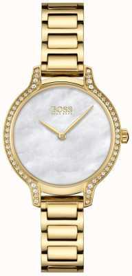 BOSS Gala | bracelet en acier plaqué or pour femme | nacre blanche 1502557