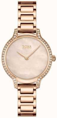 BOSS Gala | bracelet en acier or rose pour femme | cadran en or rose 1502556