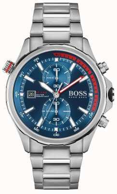 BOSS Globetrotter | bracelet en acier inoxydable pour homme | cadran bleu 1513823