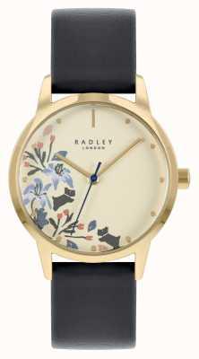 Radley Bracelet en cuir noir pour femme | cadran beige RY21222A
