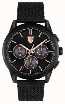 Scuderia Ferrari | grand tour | bracelet en maille noire | cadran noir | 0830807