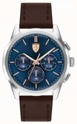 Scuderia Ferrari | grand tour | bracelet en cuir marron | cadran bleu | 0830806