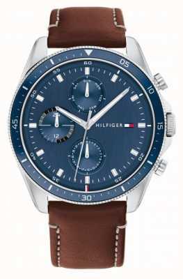 Tommy Hilfiger Parker | bracelet en cuir marron pour homme | cadran bleu 1791837