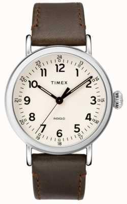 Timex Bracelet en cuir marron standard pour homme | cadran beige TW2T20700
