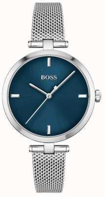 BOSS Femmes | majesté | cadran bleu | maille d'acier inoxydable 1502587