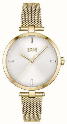 BOSS Femmes | majesté | cadran argenté | bracelet en maille pvd or 1502586