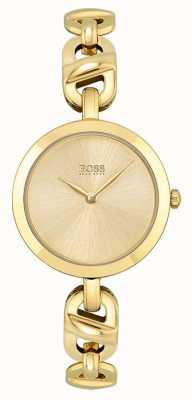 BOSS Femmes | nouvelle chaîne | cadran en or | bracelet en acier pvd or 1502591
