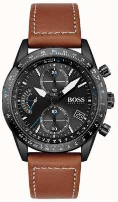 BOSS Hommes | édition pilote | chrono | cadran noir | cuir marron 1513851