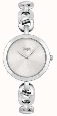BOSS Femmes | nouvelle chaîne | cadran argenté | bracelet en acier inoxydable 1502590