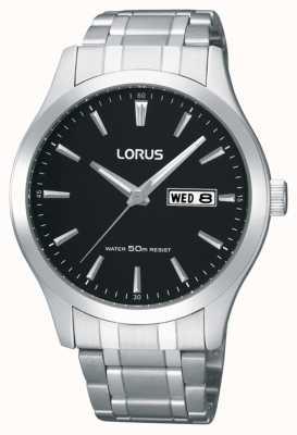 Lorus Hommes | cadran noir | bracelet en acier inoxydable RXN23DX9