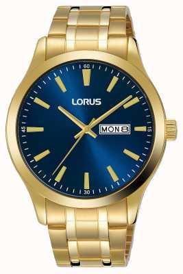 Lorus Hommes | cadran bleu | bracelet en acier plaqué or RH340AX9