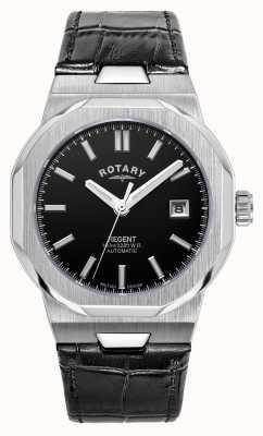 Rotary Hommes | régent | automatique | cadran noir | bracelet en cuir noir GS05410/04