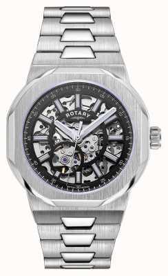 Rotary Hommes | régent | automatique | cadran squelette noir | bracelet en acier inoxydable GB05415/04