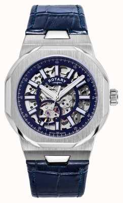 Rotary Hommes | régent | automatique | cadran squelette bleu | bracelet en cuir bleu GS05415/05