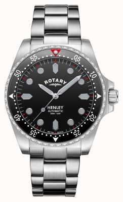 Rotary Hommes | henley | automatique | cadran noir | bracelet en acier inoxydable GB05136/04