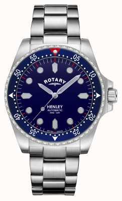 Rotary Hommes | henley | automatique | cadran bleu | bracelet en acier inoxydable GB05136/05