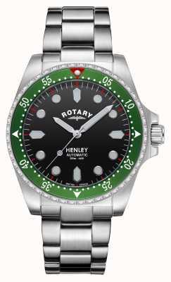Rotary Hommes | henley | automatique | cadran noir | bracelet en acier inoxydable GB05136/71