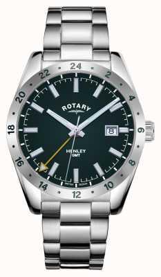 Rotary Hommes | henley | gmt | cadran vert | bracelet en acier inoxydable GB05176/24