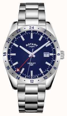 Rotary Hommes | henley | gmt | cadran bleu | bracelet en acier inoxydable GB05176/05