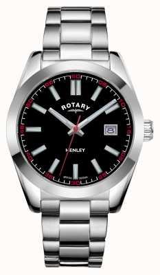 Rotary Hommes | henley | cadran noir | bracelet en acier inoxydable GB05180/04