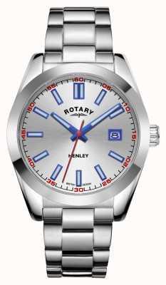 Rotary Hommes | henley | cadran argenté | bracelet en acier inoxydable GB05180/59